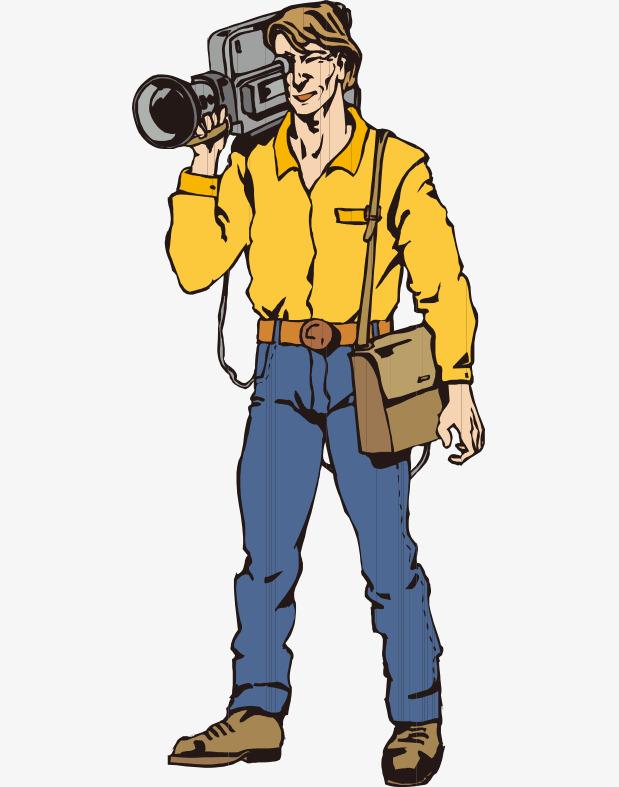 卡通手绘国外电视台摄影师器材