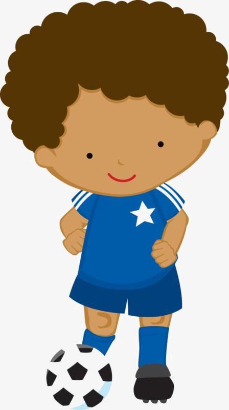 卡通踢足球的黑人非洲小男孩图片