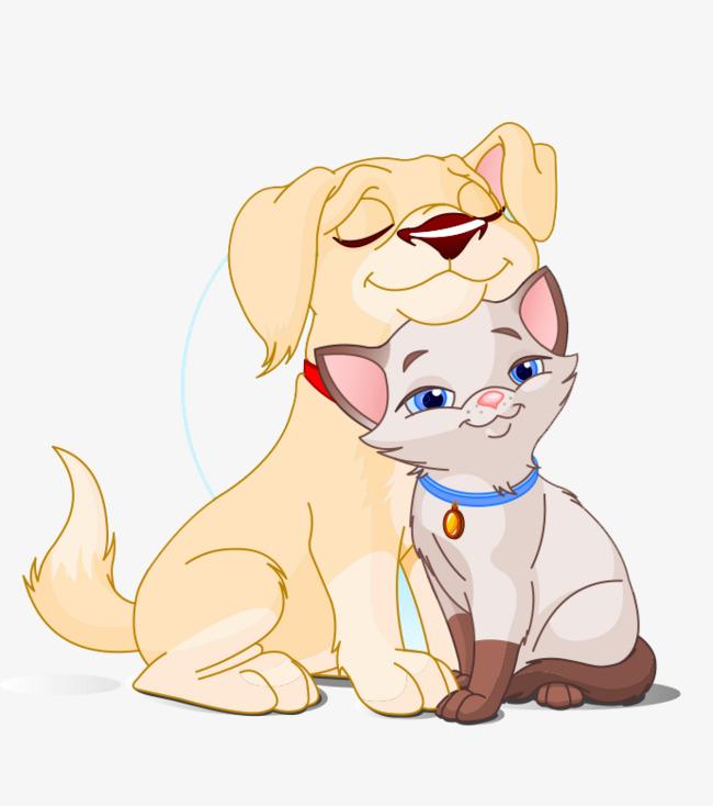 卡通手绘可爱狗猫情侣
