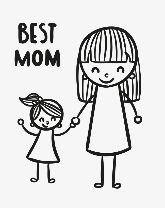 手绘妈妈和女儿手拉手