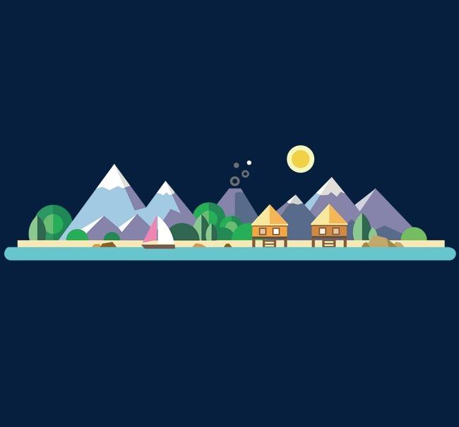 大山中的旅游圣地卡通矢量图图片