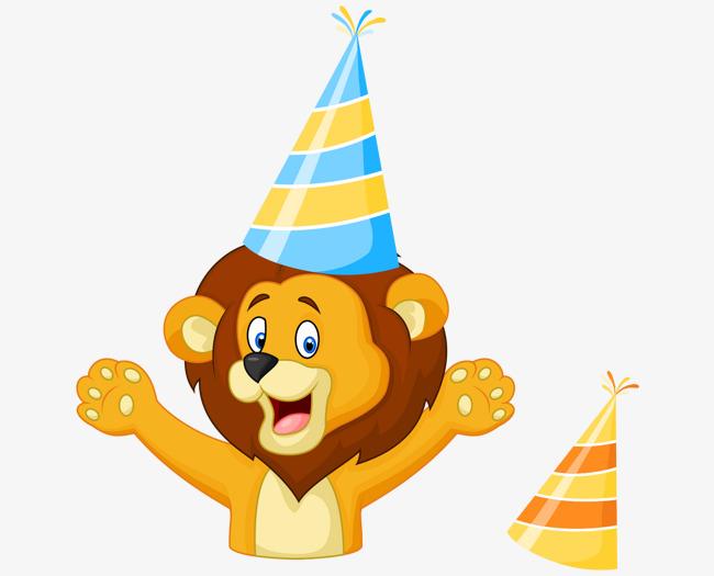 卡通手绘生日欢呼狮子彩色帽子