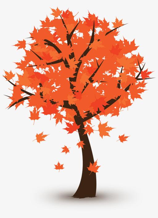 手绘橙色枫叶树