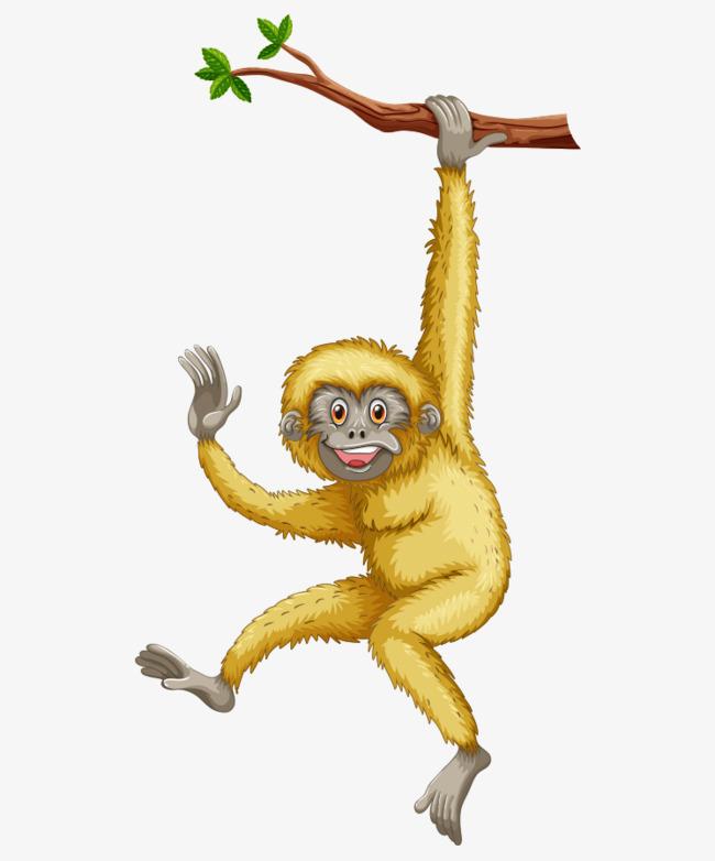 卡通手绘猴子树枝