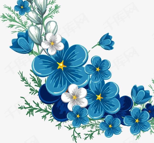 卡通手绘蓝色花边素材图片免费下载 高清装饰图案png 千库网 图片编号5784826图片