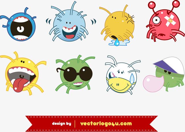化成可爱的病毒和细菌图片