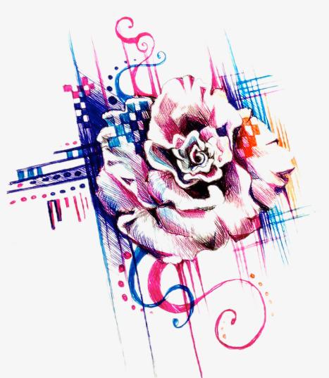 创意玫瑰花卡通素材图片