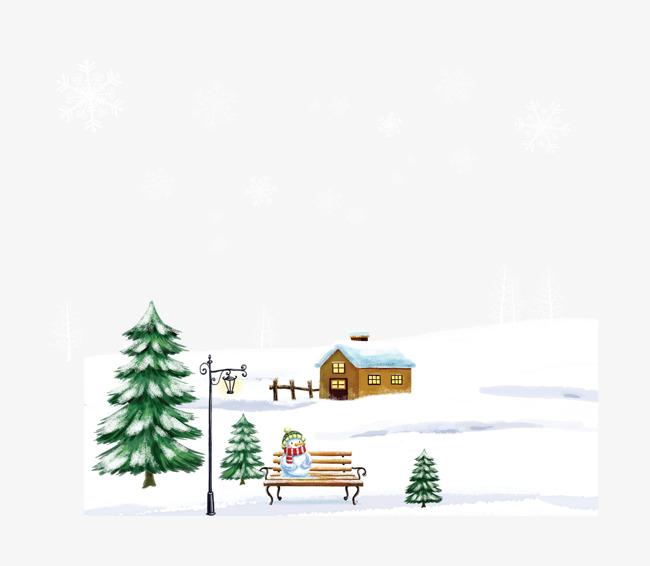 下雪场景雪天元素雪房椅子雪人