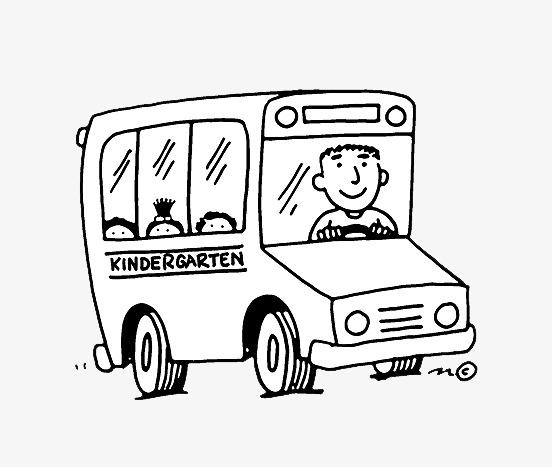 卡通手绘大巴校车