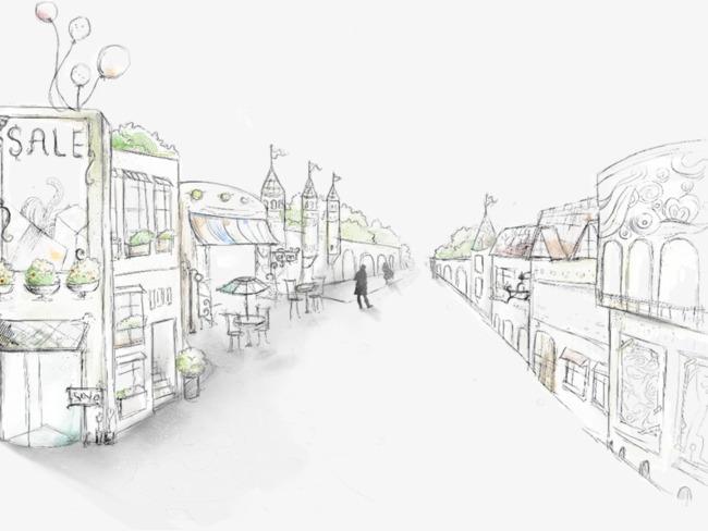 马路两边的房子素材图片免费下载 高清卡通手绘psd 千库网 图片编号5788453