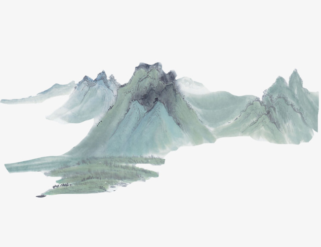 江南古风山水水墨画【高清装饰元素png素材】-90设计图片