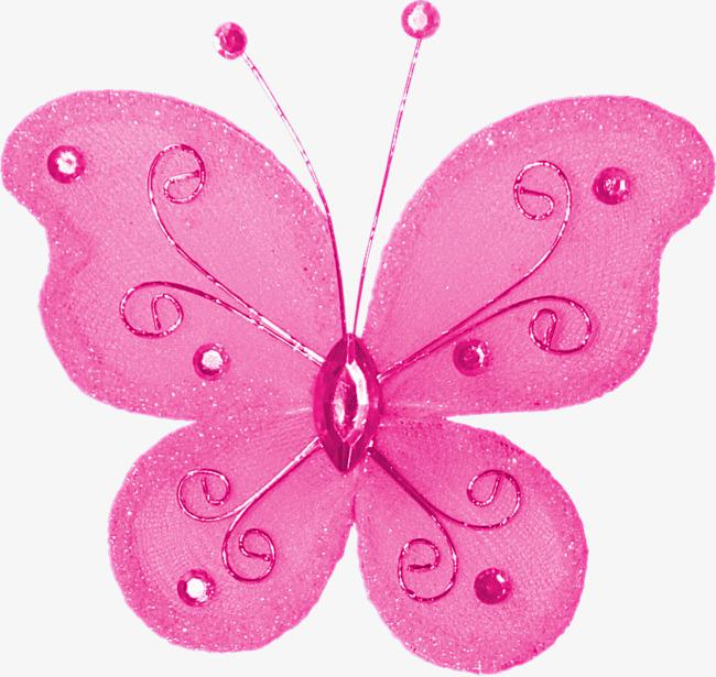 粉色蝴蝶手绘png图片png素材-90设计