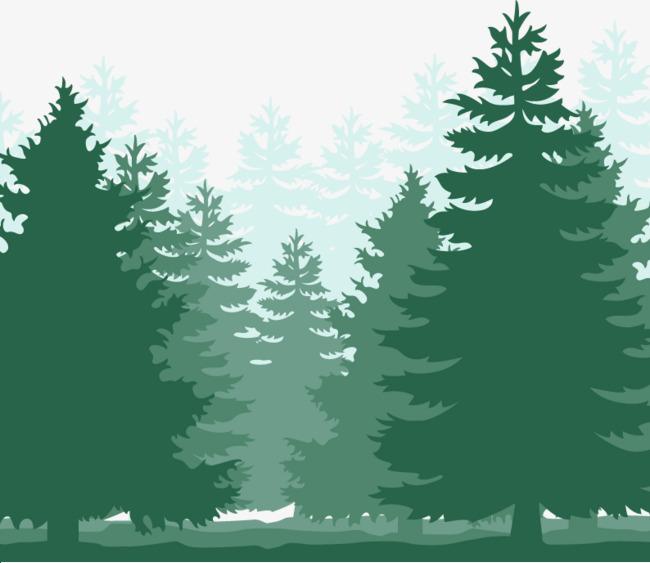 绿色森林剪影素材【高清装饰元素png素材】-90设计图片