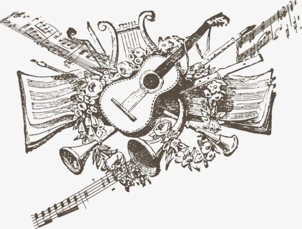 手绘黑白吉他