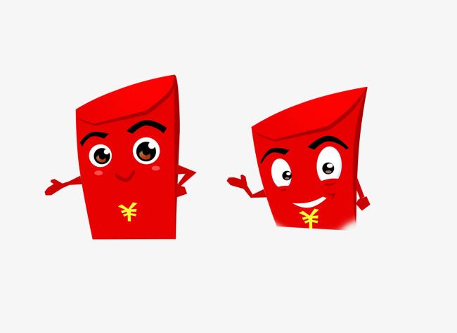 红包小人招手png图片【高清装饰元素png素材】-90设计图片