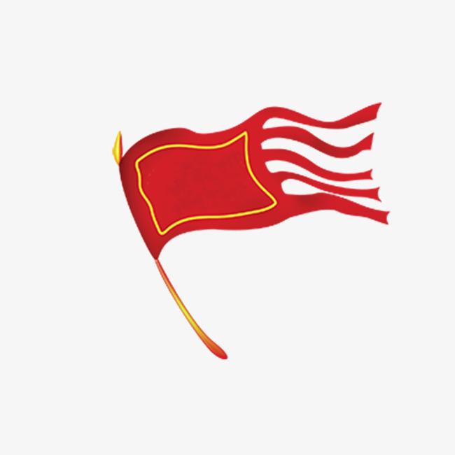 红色旗子png素材-90设计