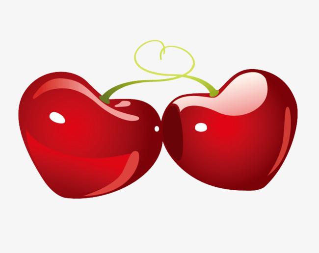 手绘爱心樱桃