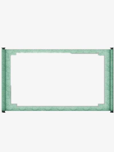 水绿色画卷素材图片