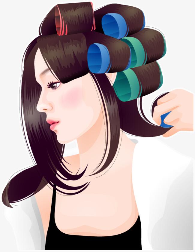 矢量手绘卷头发