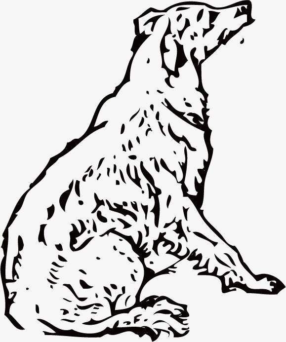 手绘线条狗狗