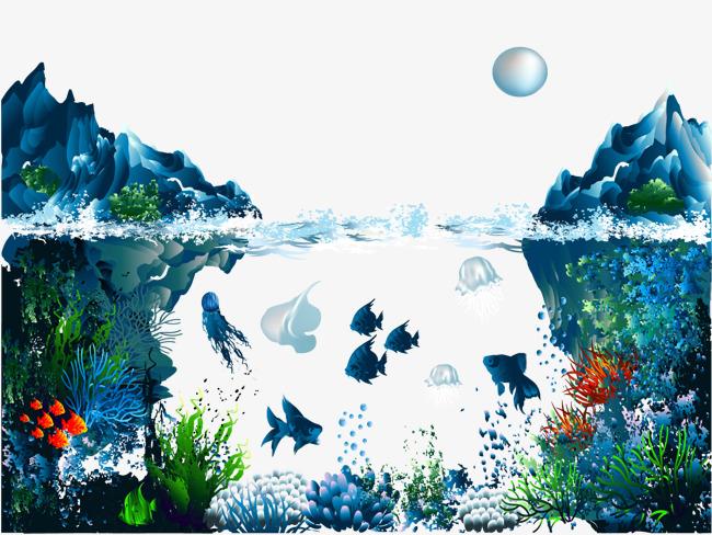 冰山海底美景矢量手绘背景图