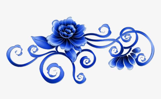 深蓝色手绘玫瑰花