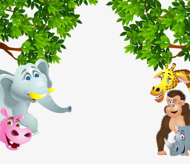 卡通手绘翠绿树叶大象河马长颈鹿