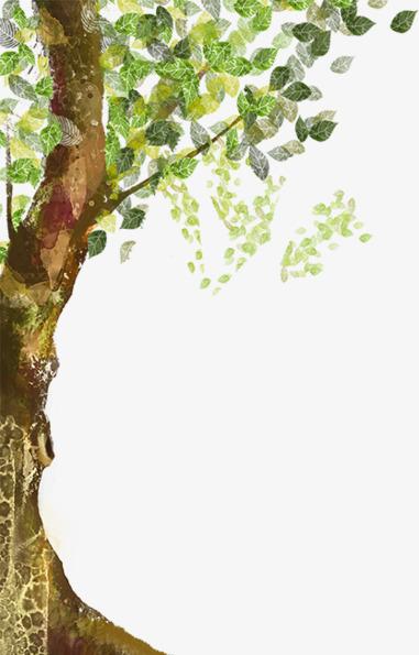 卡通夏天绿树清新手绘素材