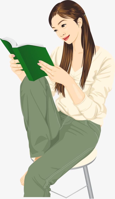 矢量手绘看书
