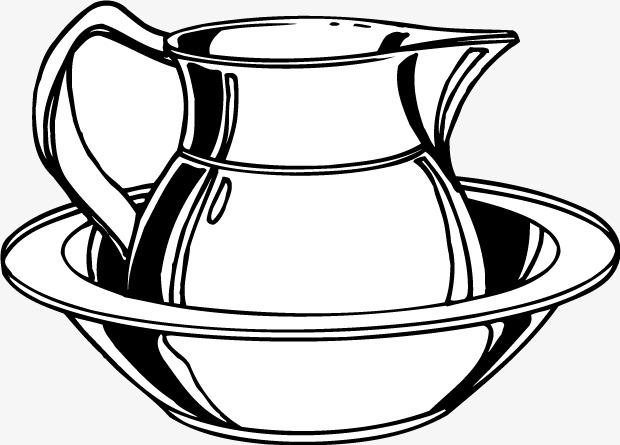 手绘黑白线条水壶水盆矢量