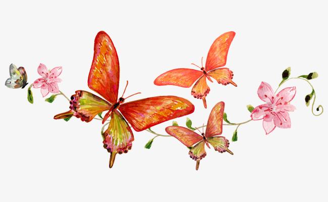 卡通手绘美丽蝴蝶飞舞紫红色花朵