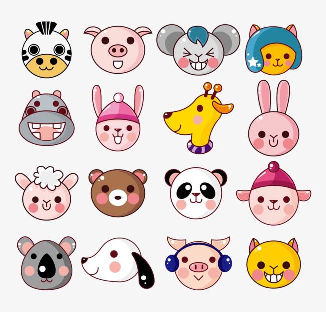 卡通动物头像熊狗猫图片