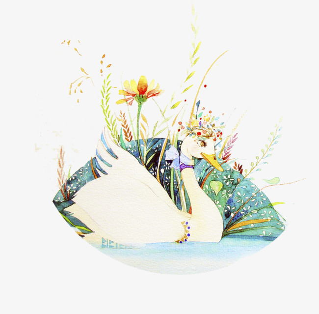 水彩手绘天鹅图案