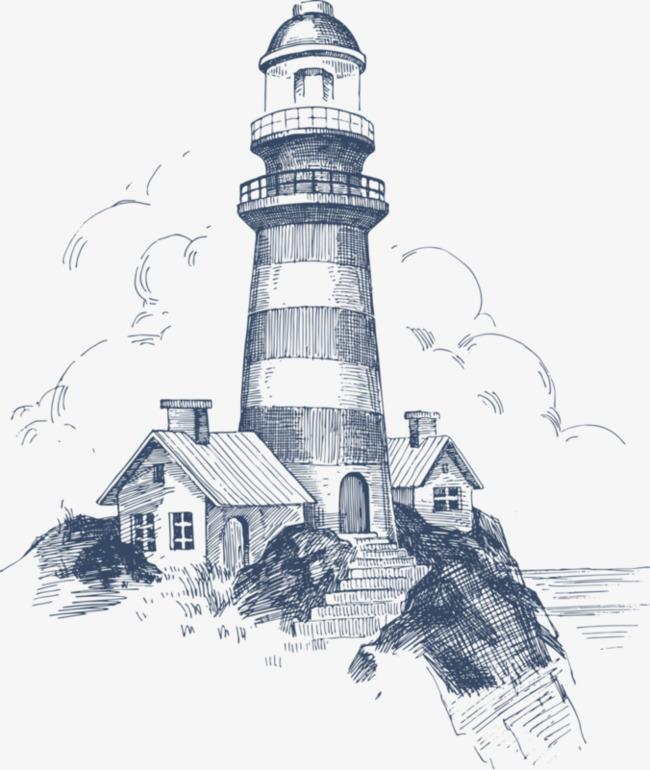 90设计提供高清png手绘动漫素材免费下载,本次岸边灯塔作品为设计师