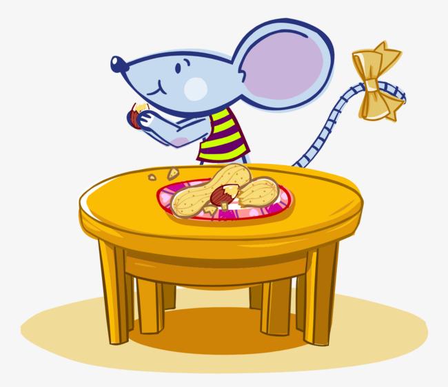卡通手绘可爱老鼠吃花生图片