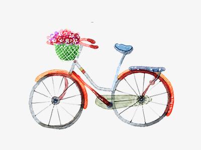 自行车鲜花手绘png素材-90设计
