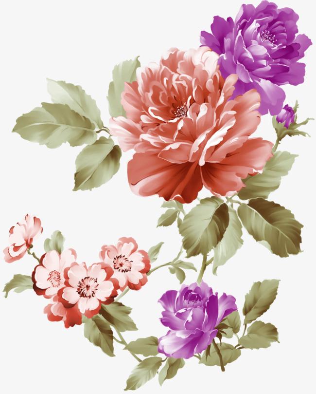 彩绘牡丹花效果元素免抠素材