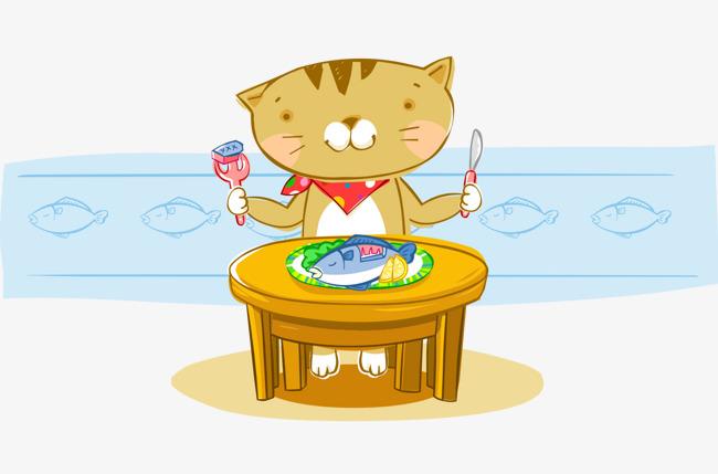 卡通手绘吃鱼猫拿刀叉图片