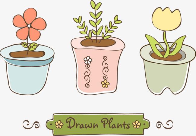 简单可爱风的盆栽简笔画
