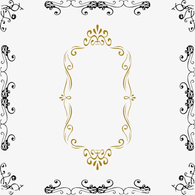 欧式镜子花纹边框元素图案【高清装饰元素png素材】