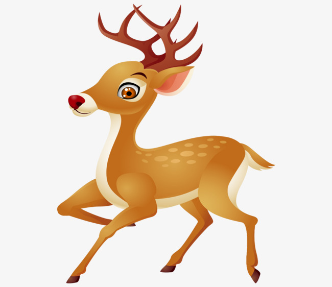 卡通手绘跑步可爱小鹿