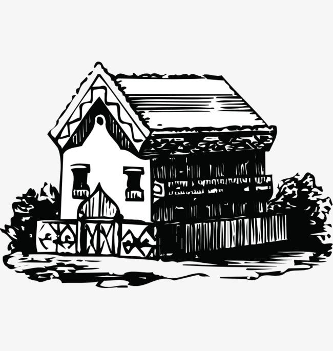手绘黑白房屋速写png素材-90设计