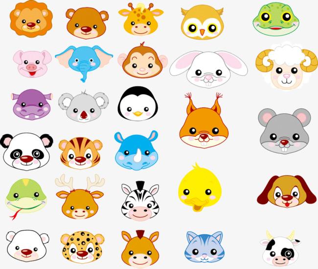 平面卡通动物头像