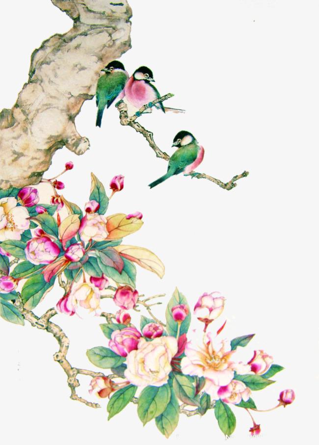 手绘中国风花鸟素材图