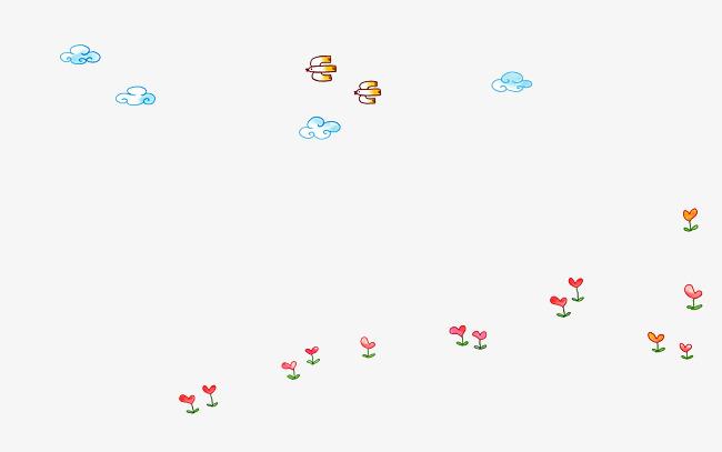 鲜花云朵卡通手绘素材