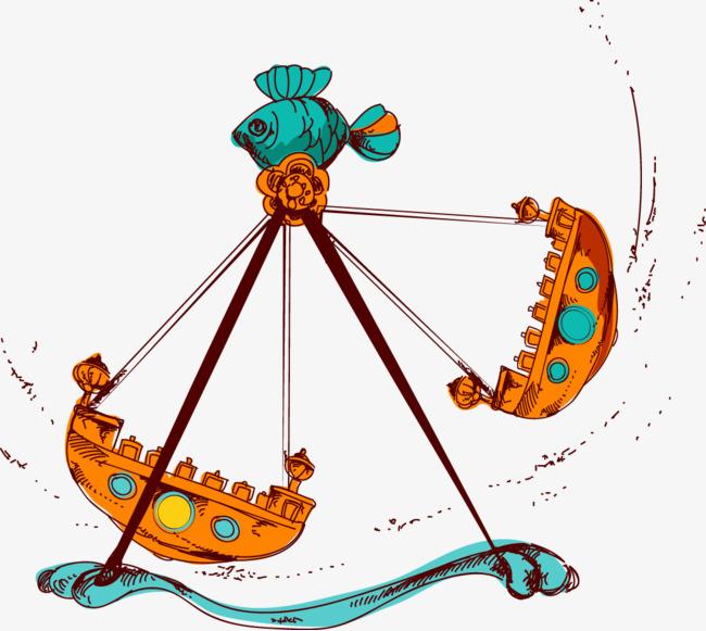 矢量手绘游乐园海盗船