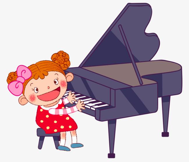 卡通手绘弹钢琴可爱小女孩