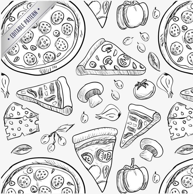 手绘美味披萨素材图片免费下载_高清装饰图案psd_千库
