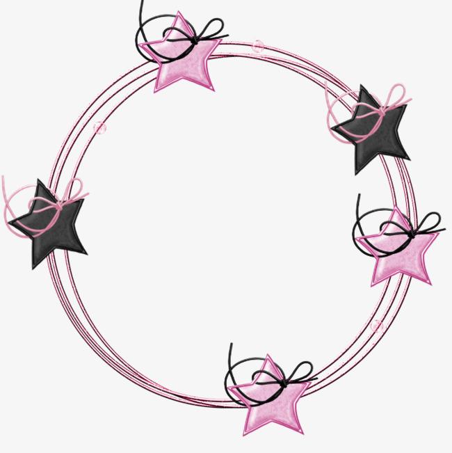 卡通手绘五角星圆形边框