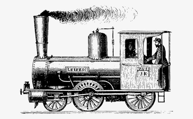卡通手绘黑白欧洲火车
